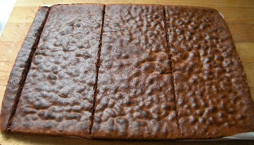 Tarta Sacher, planxa congelada amb els talls a 10 cm