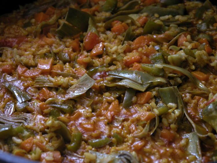 paella vegetal amb arrós integral