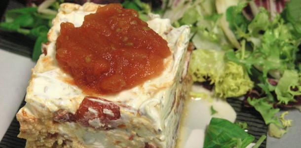Tomàquet i formatge de cabra com un cheese cake