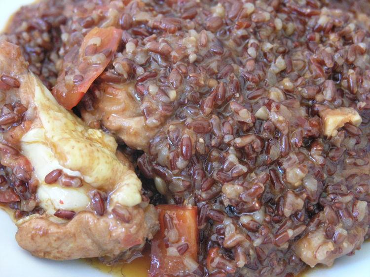 Paella arrós vermell amb pollastre