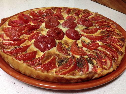 pastis de tomaquet amb formatge de cabra