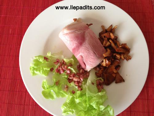 Caneló de pernil amb rossinyols