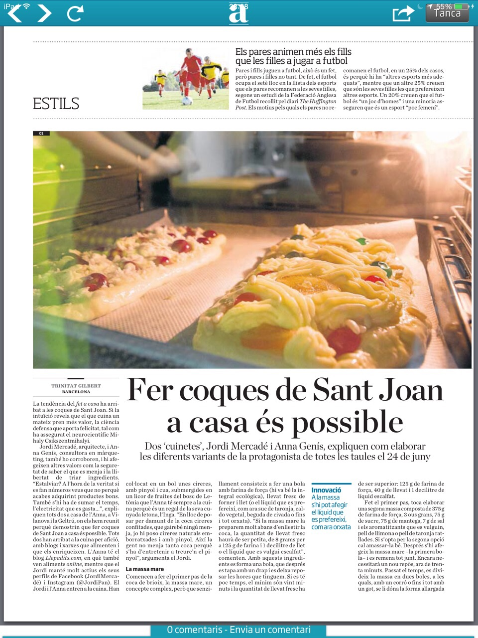 diari Ara, llepadits premsa, coques Sant Joan, com fer coca a casa