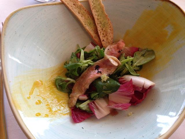 Amanida de Molls marinats amb wasabi i mango